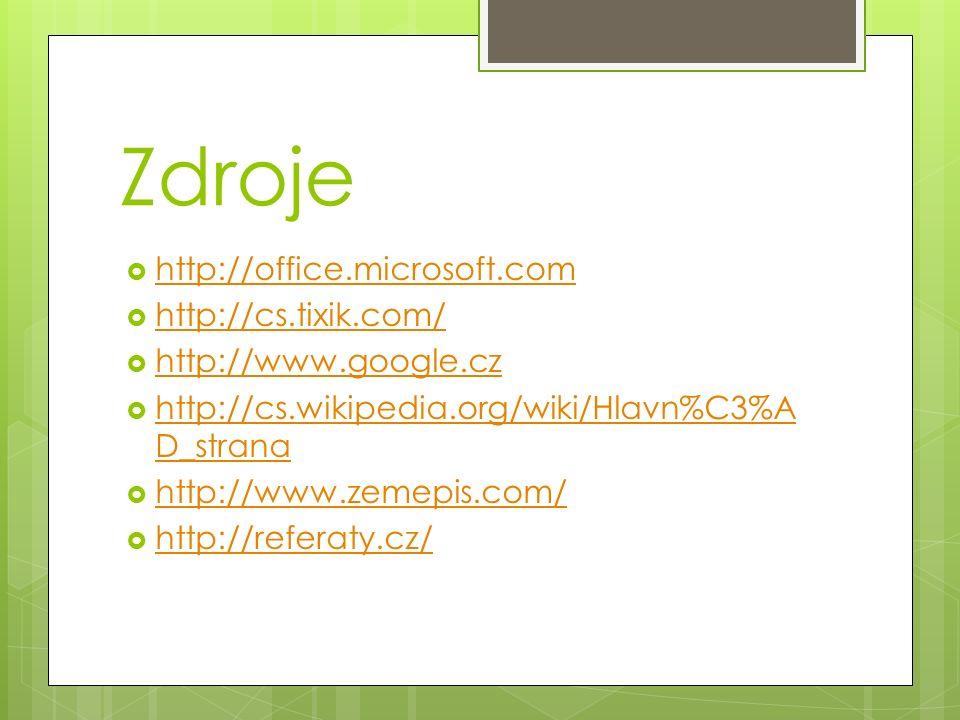 Zdroje  http://office.microsoft.com http://office.microsoft.com  http://cs.tixik.com/ http://cs.tixik.com/  http://www.google.cz http://www.google.cz  http://cs.wikipedia.org/wiki/Hlavn%C3%A D_strana http://cs.wikipedia.org/wiki/Hlavn%C3%A D_strana  http://www.zemepis.com/ http://www.zemepis.com/  http://referaty.cz/ http://referaty.cz/