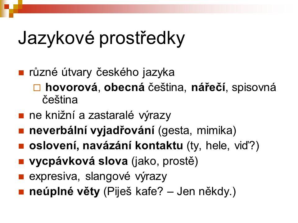 Jazykové prostředky různé útvary českého jazyka  hovorová, obecná čeština, nářečí, spisovná čeština ne knižní a zastaralé výrazy neverbální vyjadřování (gesta, mimika) oslovení, navázání kontaktu (ty, hele, viď ) vycpávková slova (jako, prostě) expresiva, slangové výrazy neúplné věty (Piješ kafe.