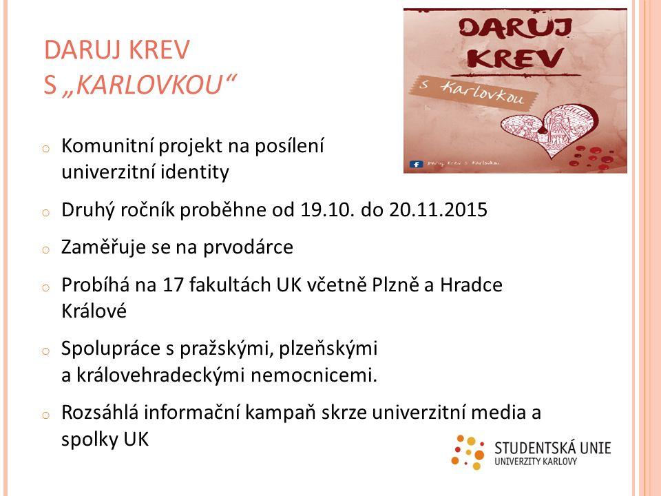 o Komunitní projekt na posílení univerzitní identity o Druhý ročník proběhne od 19.10. do 20.11.2015 o Zaměřuje se na prvodárce o Probíhá na 17 fakult