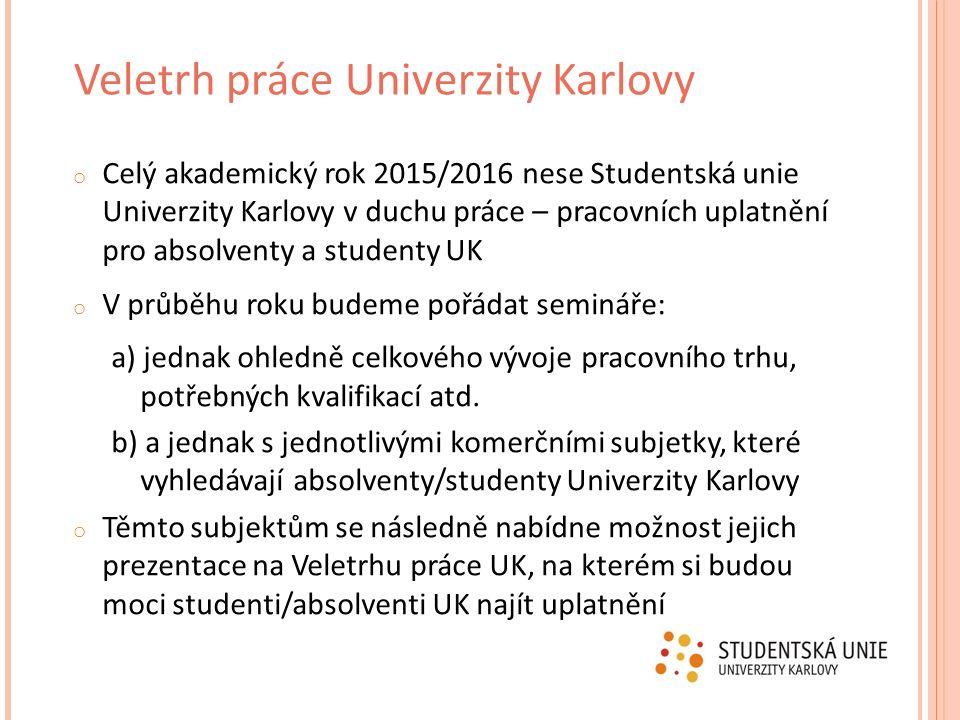 o Celý akademický rok 2015/2016 nese Studentská unie Univerzity Karlovy v duchu práce – pracovních uplatnění pro absolventy a studenty UK o V průběhu