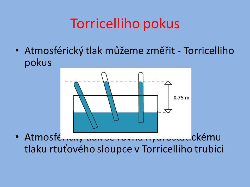 Torricelliho pokus Atmosférický tlak můžeme změřit - Torricelliho pokus Atmosférický tlak se rovná hydrostatickému tlaku rtuťového sloupce v Torricelliho trubici