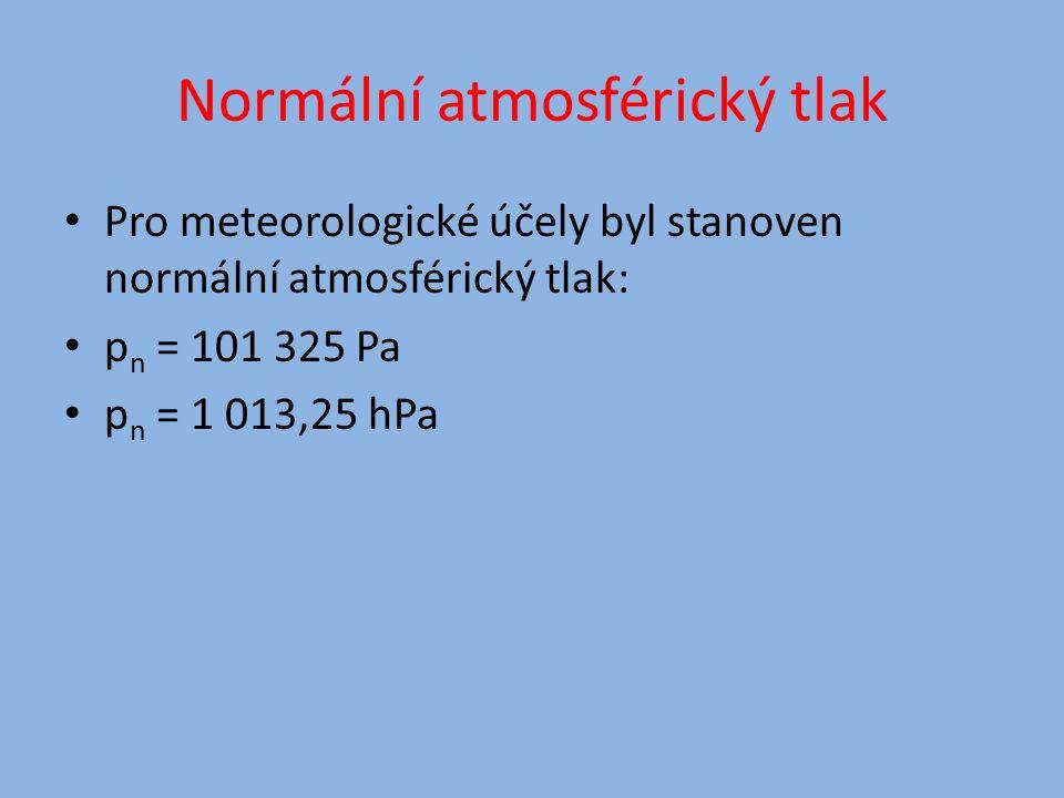 Normální atmosférický tlak Pro meteorologické účely byl stanoven normální atmosférický tlak: p n = 101 325 Pa p n = 1 013,25 hPa