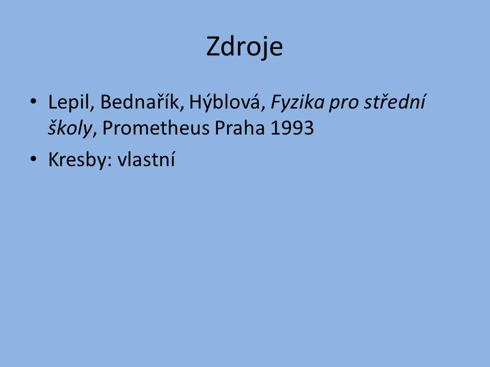 Zdroje Lepil, Bednařík, Hýblová, Fyzika pro střední školy, Prometheus Praha 1993 Kresby: vlastní