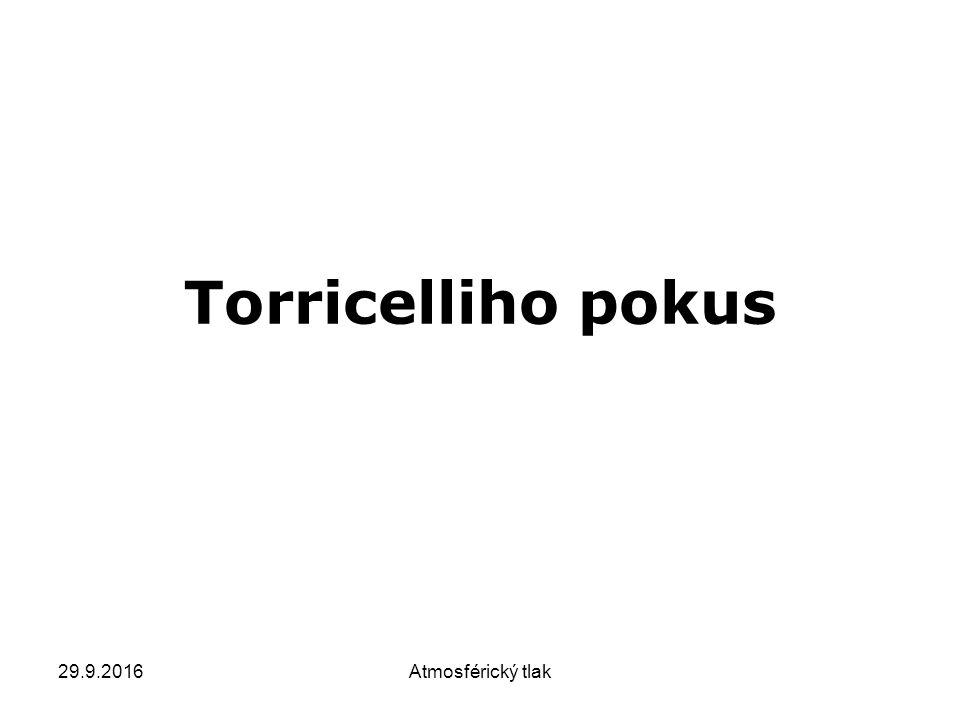 29.9.2016Atmosférický tlak Torricelliho pokus