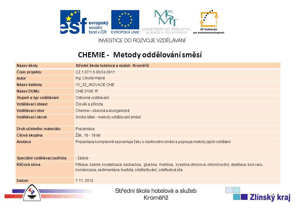 Název školyStřední škola hotelová a služeb Kroměříž Číslo projektuCZ.1.07/1.5.00/34.0911 Autor Ing.