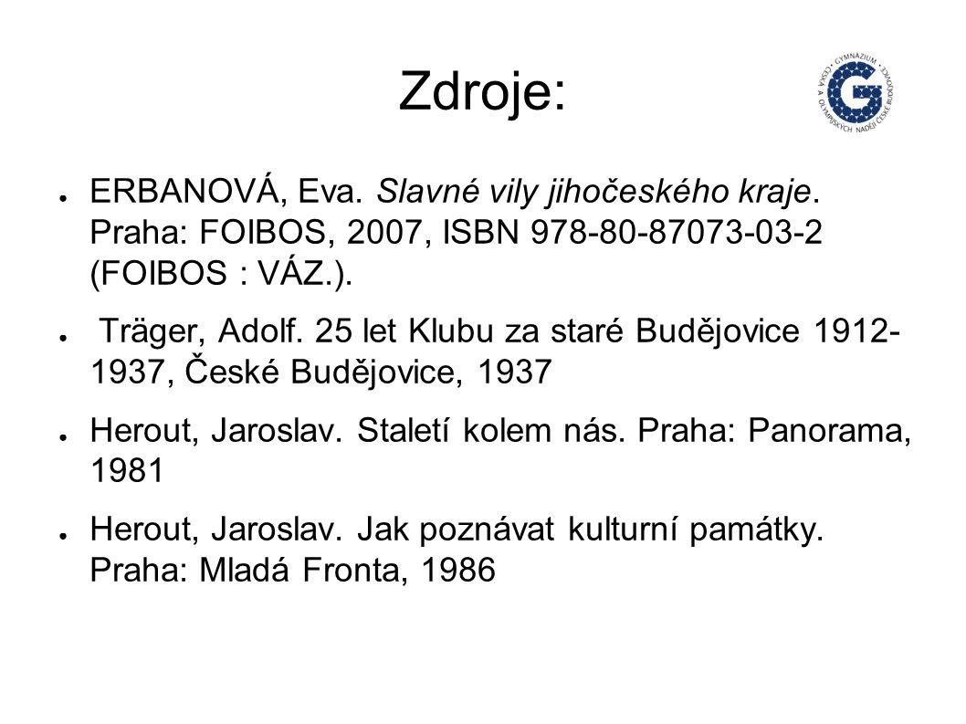 Zdroje: ● ERBANOVÁ, Eva. Slavné vily jihočeského kraje.