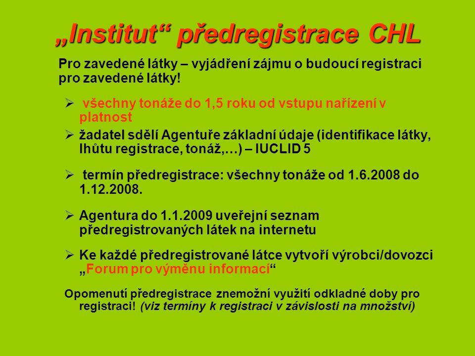 """""""Institut předregistrace CHL Pro zavedené látky – vyjádření zájmu o budoucí registraci pro zavedené látky."""