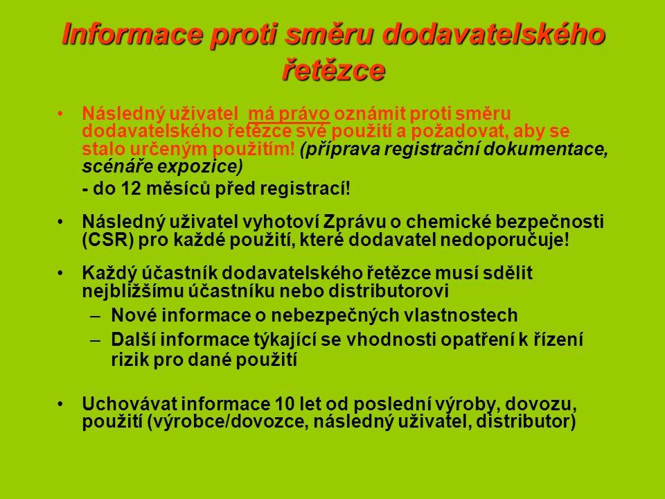 Informace proti směru dodavatelského řetězce Následný uživatel má právo oznámit proti směru dodavatelského řetězce své použití a požadovat, aby se stalo určeným použitím.