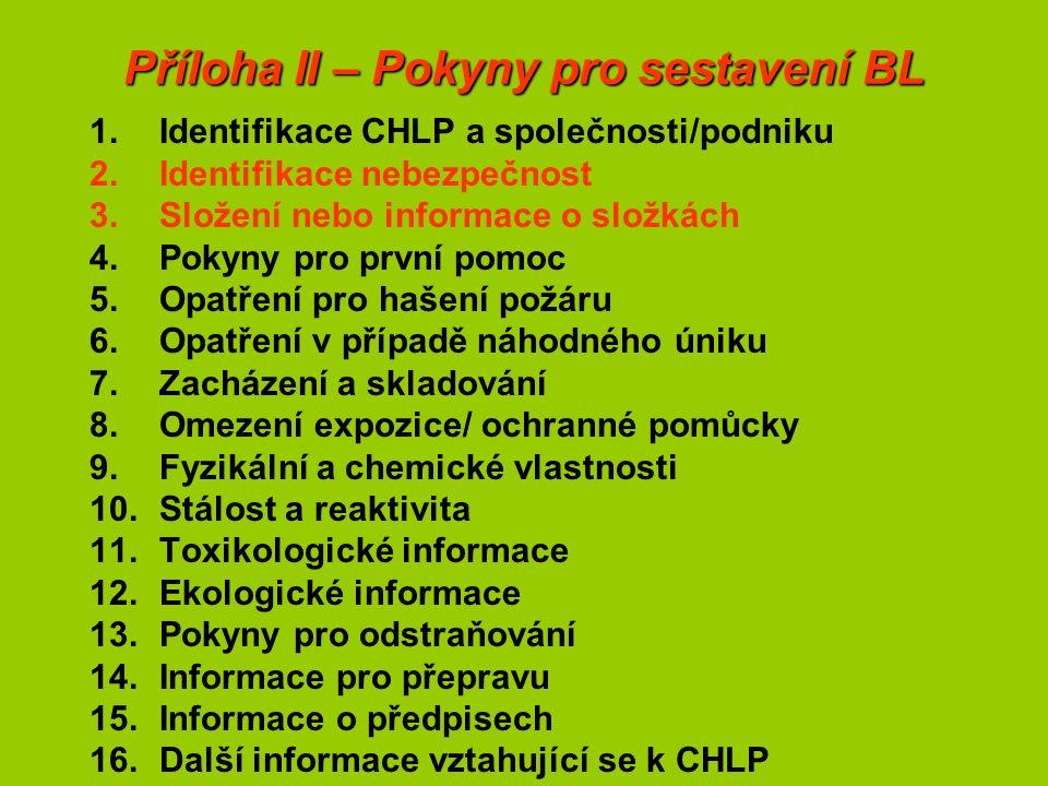 Příloha II – Pokyny pro sestavení BL 1.Identifikace CHLP a společnosti/podniku 2.Identifikace nebezpečnost 3.Složení nebo informace o složkách 4.Pokyny pro první pomoc 5.Opatření pro hašení požáru 6.Opatření v případě náhodného úniku 7.Zacházení a skladování 8.Omezení expozice/ ochranné pomůcky 9.Fyzikální a chemické vlastnosti 10.Stálost a reaktivita 11.Toxikologické informace 12.Ekologické informace 13.Pokyny pro odstraňování 14.Informace pro přepravu 15.Informace o předpisech 16.Další informace vztahující se k CHLP