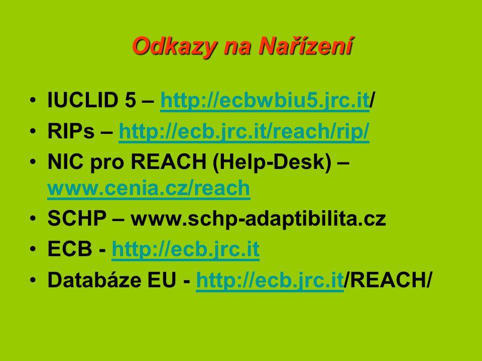 Odkazy na Nařízení IUCLID 5 – http://ecbwbiu5.jrc.it/http://ecbwbiu5.jrc.it RIPs – http://ecb.jrc.it/reach/rip/http://ecb.jrc.it/reach/rip/ NIC pro REACH (Help-Desk) – www.cenia.cz/reach www.cenia.cz/reach SCHP – www.schp-adaptibilita.cz ECB - http://ecb.jrc.ithttp://ecb.jrc.it Databáze EU - http://ecb.jrc.it/REACH/http://ecb.jrc.it