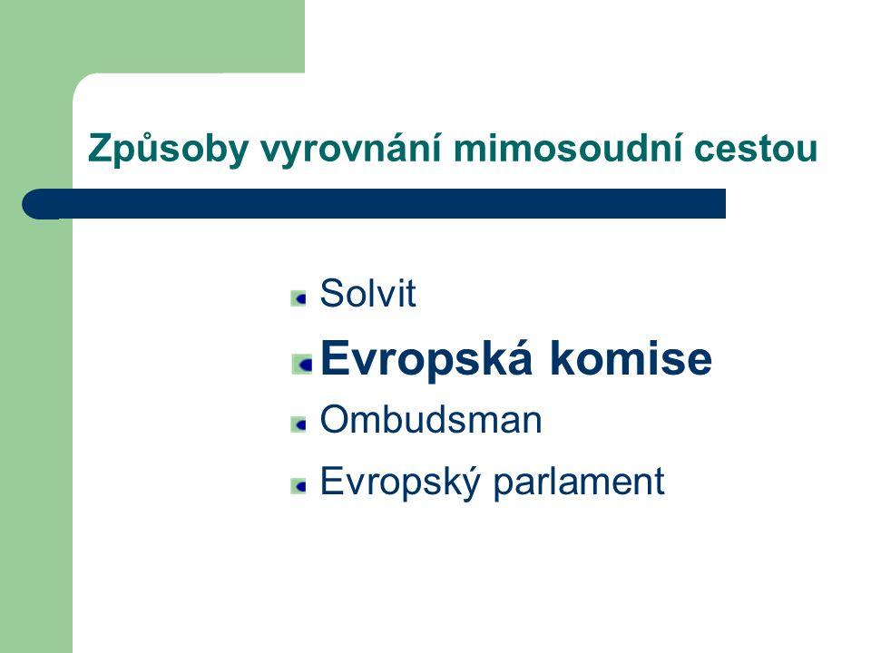 Solvit Evropská komise Ombudsman Evropský parlament Způsoby vyrovnání mimosoudní cestou