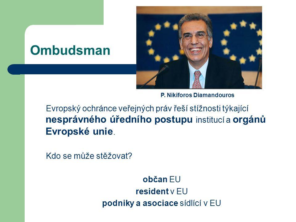Ombudsman Evropský ochránce veřejných práv řeší stížnosti týkající nesprávného úředního postupu institucí a orgánů Evropské unie. Kdo se může stěžovat