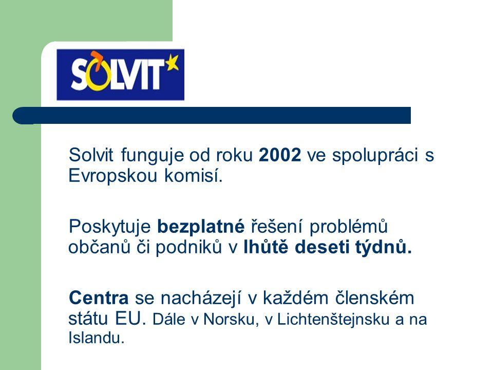 Solvit funguje od roku 2002 ve spolupráci s Evropskou komisí. Poskytuje bezplatné řešení problémů občanů či podniků v lhůtě deseti týdnů. Centra se na