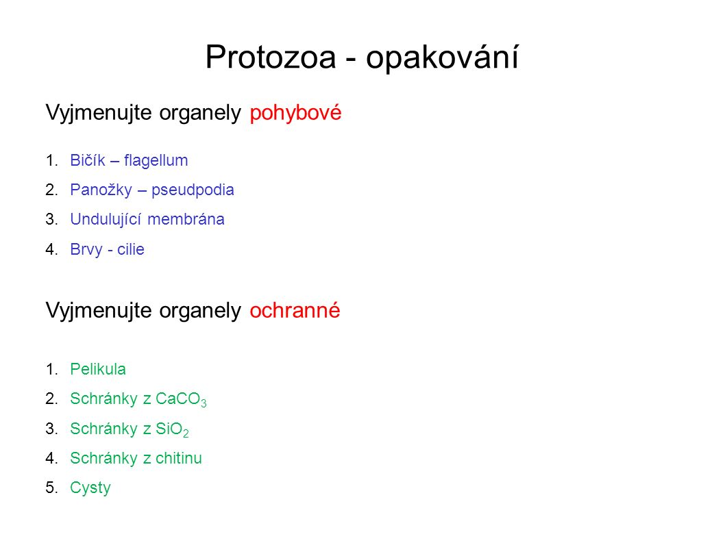 Protozoa - opakování Vyjmenujte organely pohybové 1.Bičík – flagellum 2.Panožky – pseudpodia 3.Undulující membrána 4.Brvy - cilie Vyjmenujte organely ochranné 1.Pelikula 2.Schránky z CaCO 3 3.Schránky z SiO 2 4.Schránky z chitinu 5.Cysty Uveďte příklady prvoků s těmito organelami