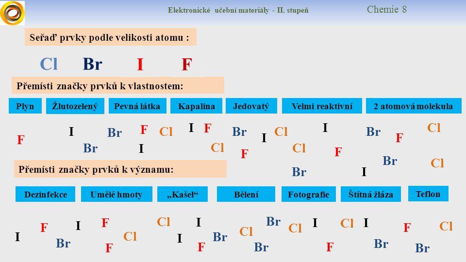 Elektronické učební materiály - II.stupeň Chemie 8 diatomic = dvouatomový yellow gas = ??.