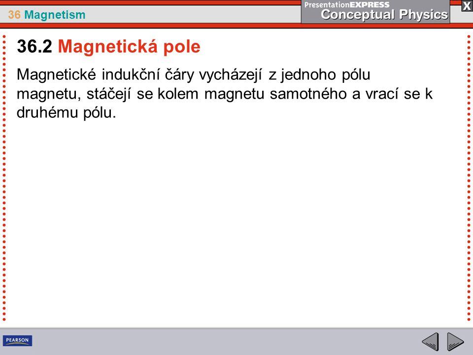 36 Magnetism Magnetické indukční čáry vycházejí z jednoho pólu magnetu, stáčejí se kolem magnetu samotného a vrací se k druhému pólu.