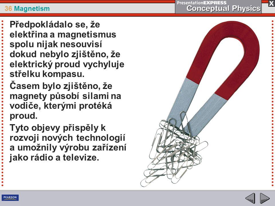 36 Magnetism Předpokládalo se, že elektřina a magnetismus spolu nijak nesouvisí dokud nebylo zjištěno, že elektrický proud vychyluje střelku kompasu.