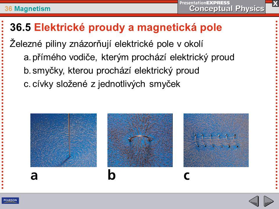 36 Magnetism Železné piliny znázorňují elektrické pole v okolí a.přímého vodiče, kterým prochází elektrický proud b.smyčky, kterou prochází elektrický proud c.cívky složené z jednotlivých smyček 36.5 Elektrické proudy a magnetická pole