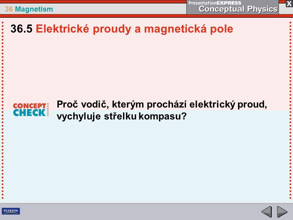 36 Magnetism Proč vodič, kterým prochází elektrický proud, vychyluje střelku kompasu.