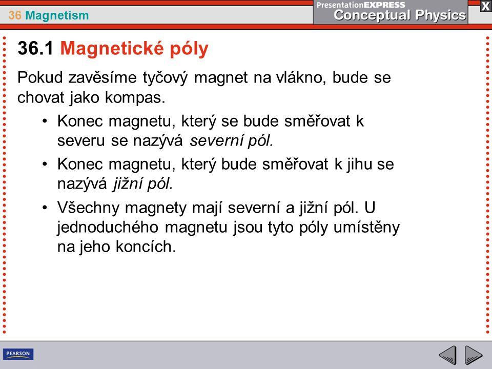 36 Magnetism Tvar magnetického pole v případě dvou magnetů, které a.jsou natočeny opačnými póly k sobě 36.2 Magnetická pole