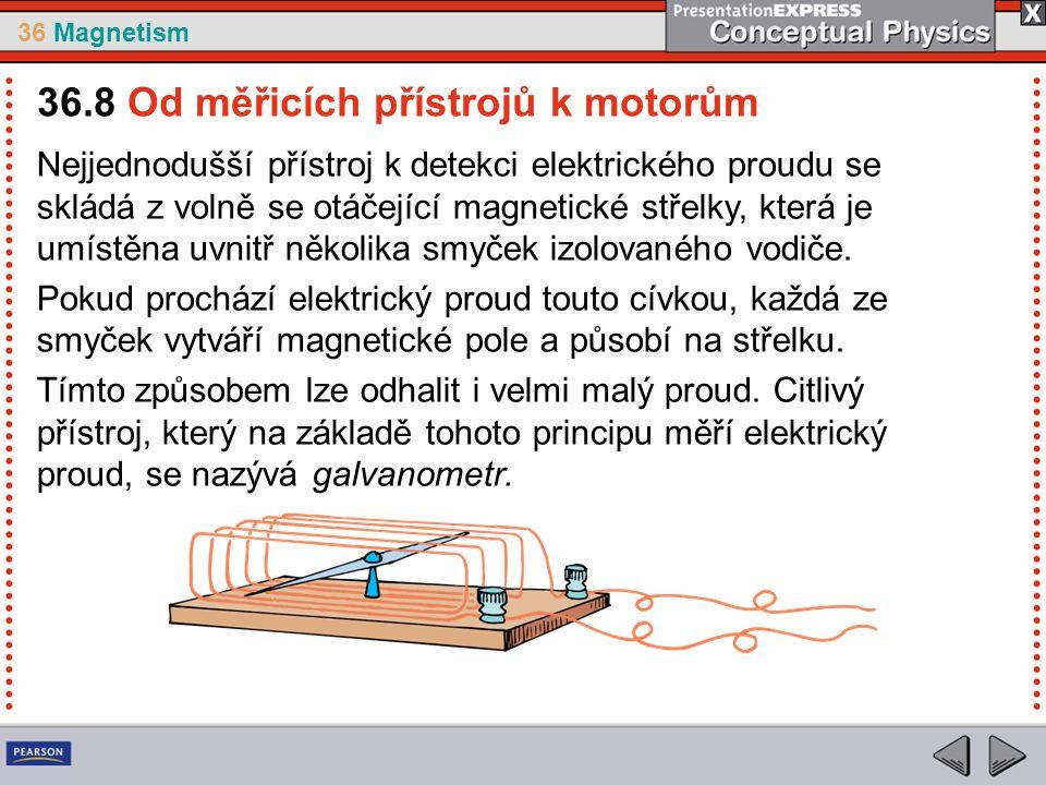 36 Magnetism Nejjednodušší přístroj k detekci elektrického proudu se skládá z volně se otáčející magnetické střelky, která je umístěna uvnitř několika smyček izolovaného vodiče.