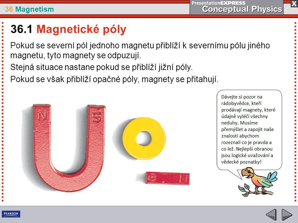 36 Magnetism Tvar magnetického pole v případě dvou magnetů, které a.jsou natočeny opačnými póly k sobě b.jsou natočeny souhlasnými póly k sobě 36.2 Magnetická pole