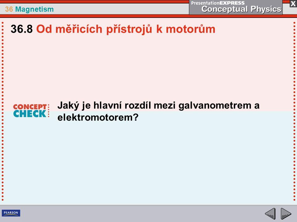36 Magnetism Jaký je hlavní rozdíl mezi galvanometrem a elektromotorem.