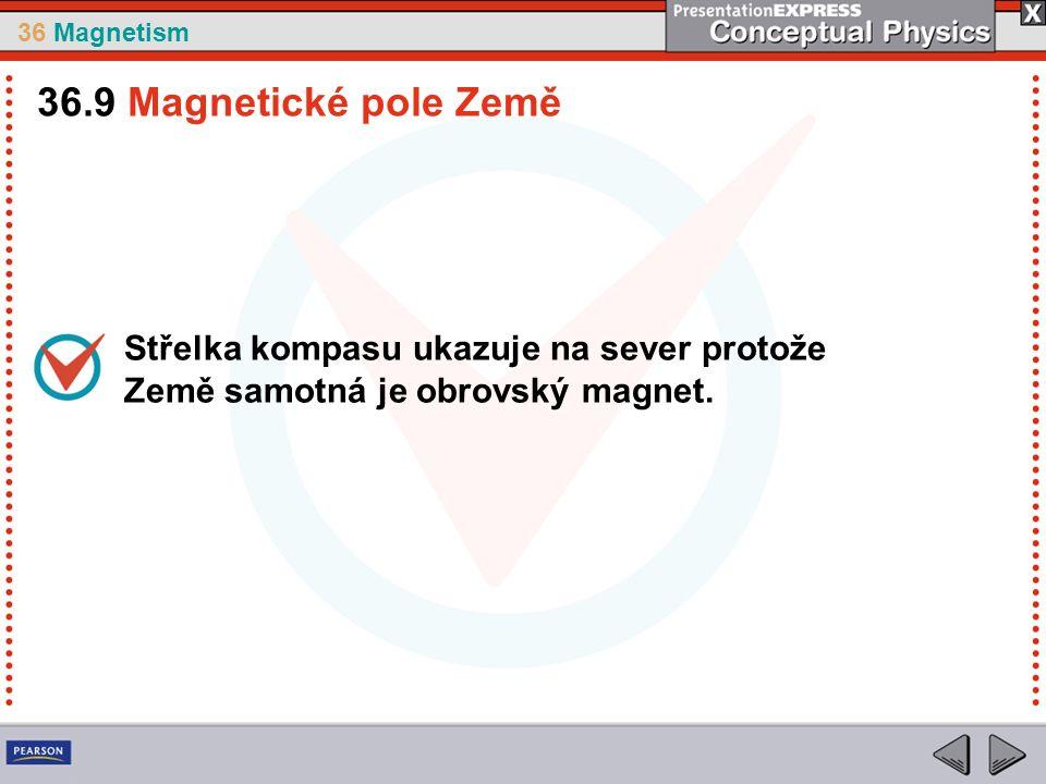 36 Magnetism Střelka kompasu ukazuje na sever protože Země samotná je obrovský magnet.