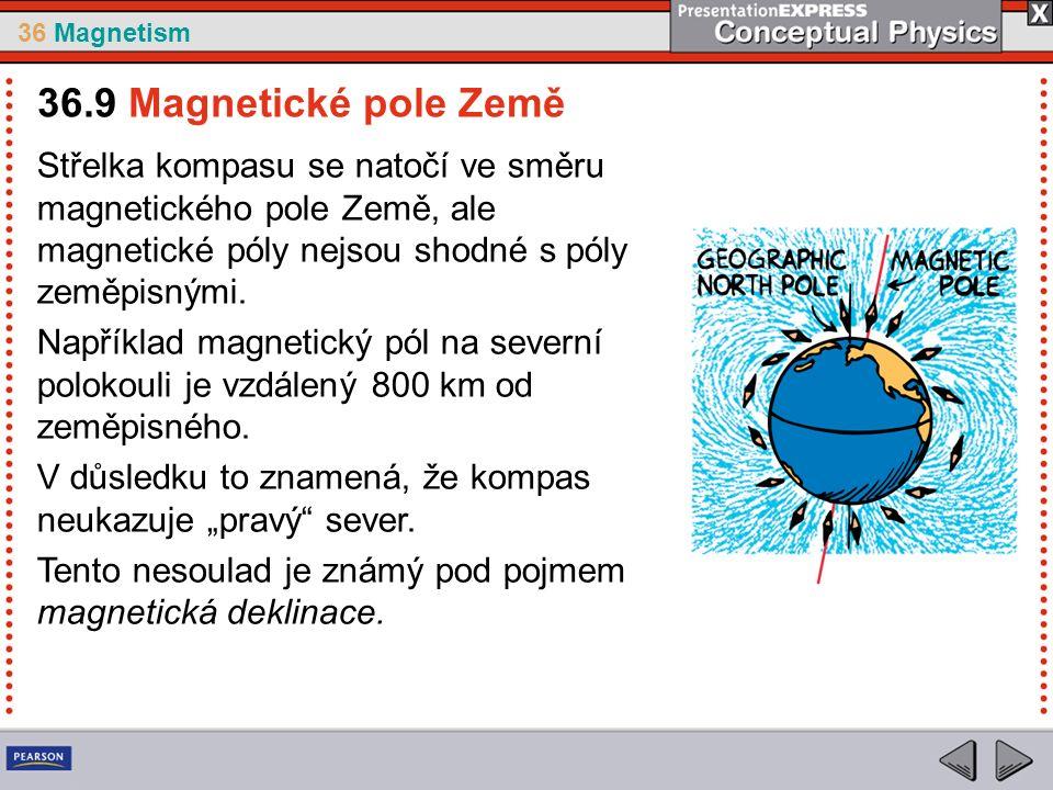 36 Magnetism Střelka kompasu se natočí ve směru magnetického pole Země, ale magnetické póly nejsou shodné s póly zeměpisnými.