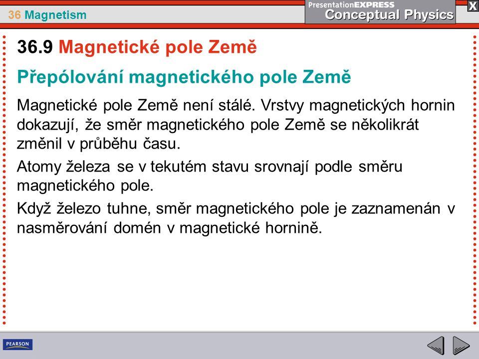 36 Magnetism Přepólování magnetického pole Země Magnetické pole Země není stálé.