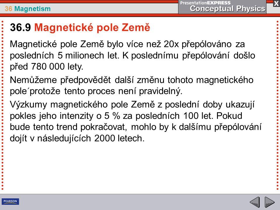 36 Magnetism Magnetické pole Země bylo více než 20x přepólováno za posledních 5 milionech let.