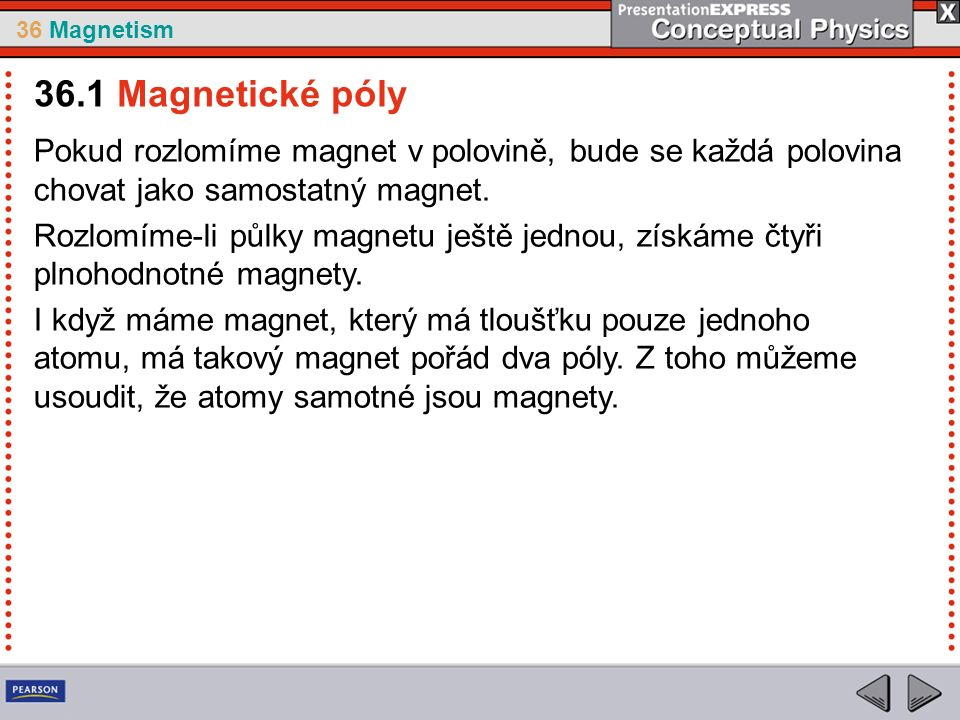 36 Magnetism Pokud se nabitá částice pohybuje v magnetickém poli, působí na ni síla, která tuto částici vychyluje.