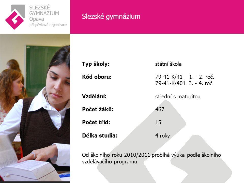 Slezské gymnázium Typ školy: státní škola Kód oboru: 79-41-K/41 1.