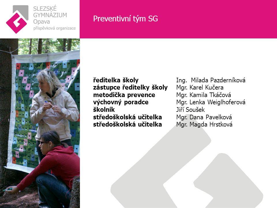 Preventivní tým SG ředitelka školy Ing.Milada Pazderníková zástupce ředitelky školyMgr.