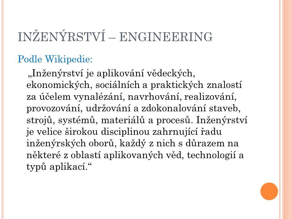 """INŽENÝRSTVÍ – ENGINEERING Podle Wikipedie: """"Inženýrství je aplikování vědeckých, ekonomických, sociálních a praktických znalostí za účelem vynalézání, navrhování, realizování, provozování, udržování a zdokonalování staveb, strojů, systémů, materiálů a procesů."""