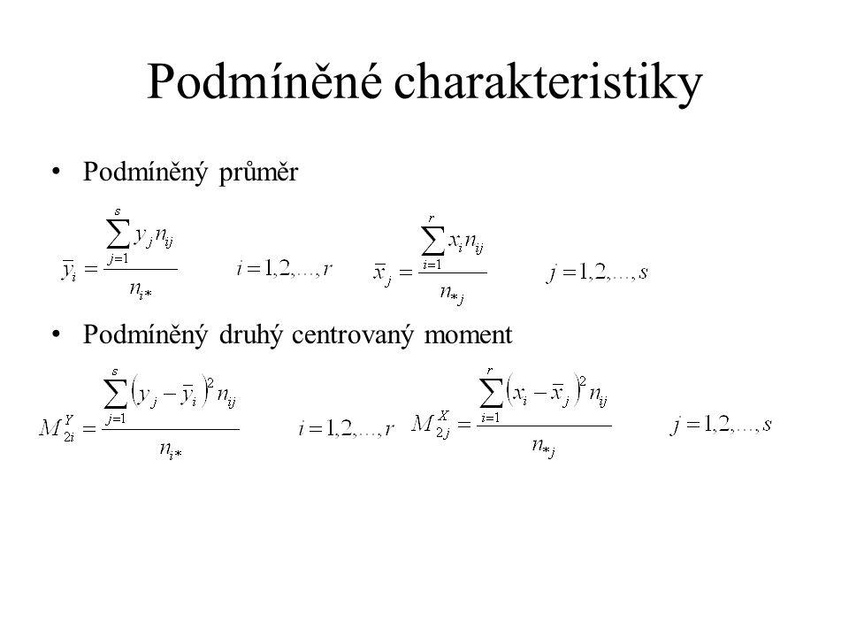 Podmíněné charakteristiky Podmíněný průměr Podmíněný druhý centrovaný moment