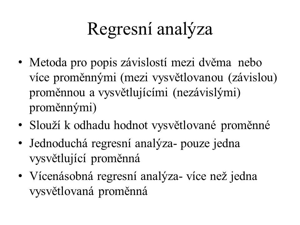 Regresní analýza Metoda pro popis závislostí mezi dvěma nebo více proměnnými (mezi vysvětlovanou (závislou) proměnnou a vysvětlujícími (nezávislými) proměnnými) Slouží k odhadu hodnot vysvětlované proměnné Jednoduchá regresní analýza- pouze jedna vysvětlující proměnná Vícenásobná regresní analýza- více než jedna vysvětlovaná proměnná