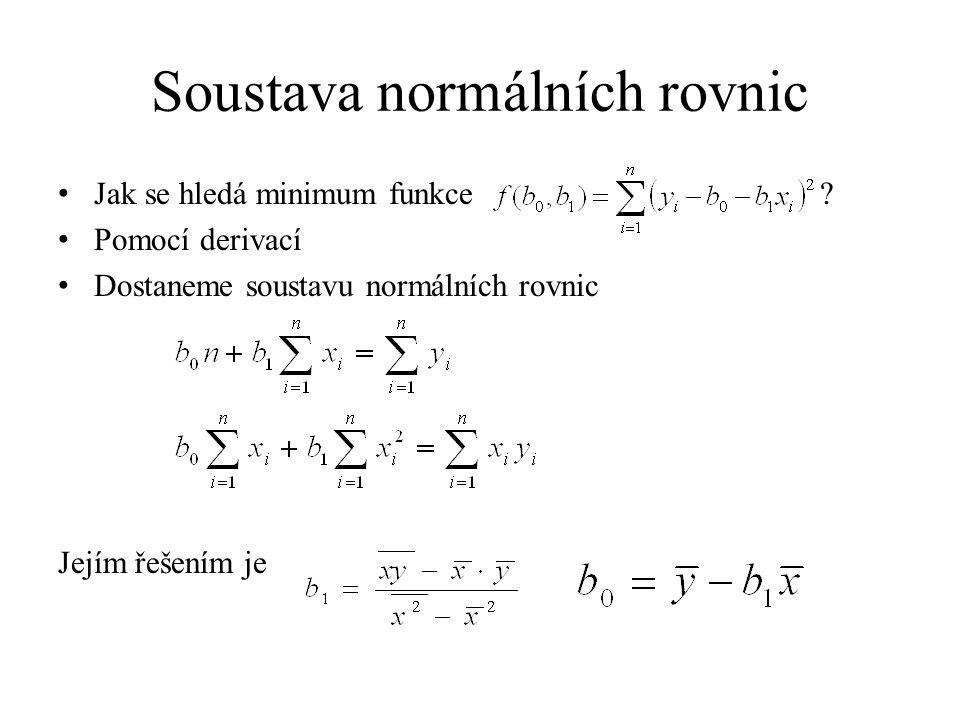 Soustava normálních rovnic Jak se hledá minimum funkce ? Pomocí derivací Dostaneme soustavu normálních rovnic Jejím řešením je