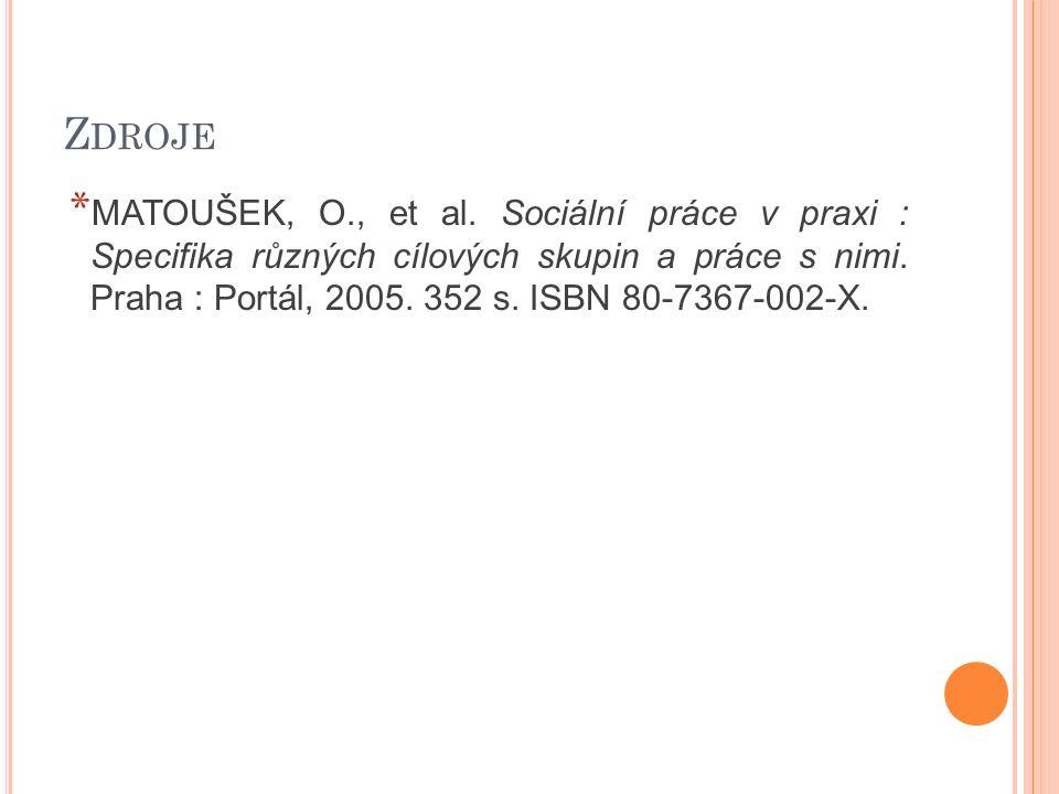Z DROJE * MATOUŠEK, O., et al. Sociální práce v praxi : Specifika různých cílových skupin a práce s nimi. Praha : Portál, 2005. 352 s. ISBN 80-7367-00
