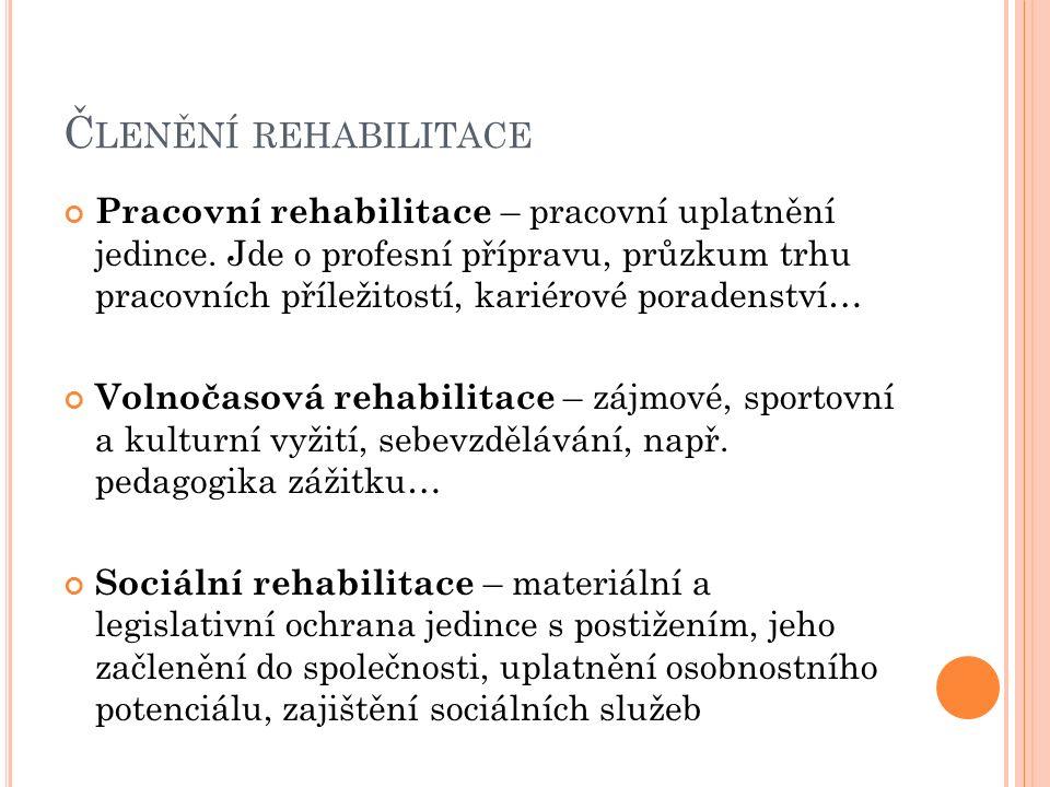 Č LENĚNÍ REHABILITACE Pracovní rehabilitace – pracovní uplatnění jedince. Jde o profesní přípravu, průzkum trhu pracovních příležitostí, kariérové por