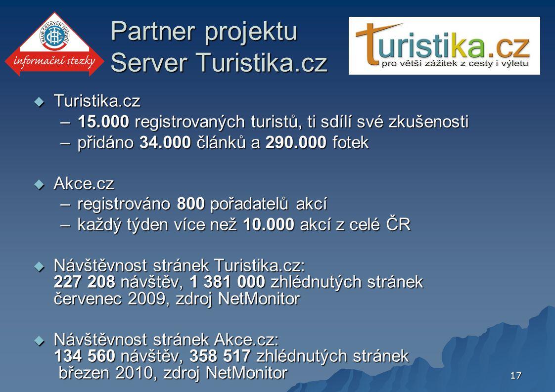 17 Partner projektu Server Turistika.cz  Turistika.cz –15.000 registrovaných turistů, ti sdílí své zkušenosti –přidáno 34.000 článků a 290.000 fotek