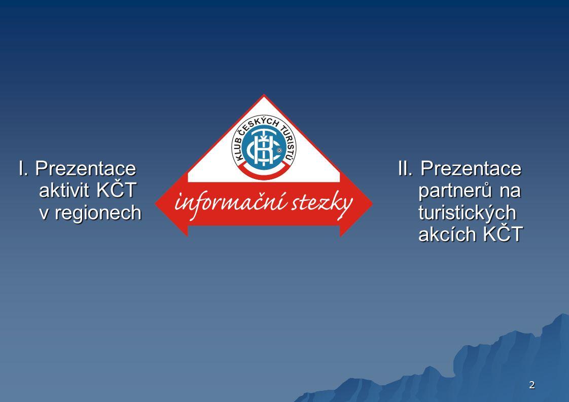 2 I. Prezentace aktivit KČT v regionech II. Prezentace partnerů na turistických akcích KČT