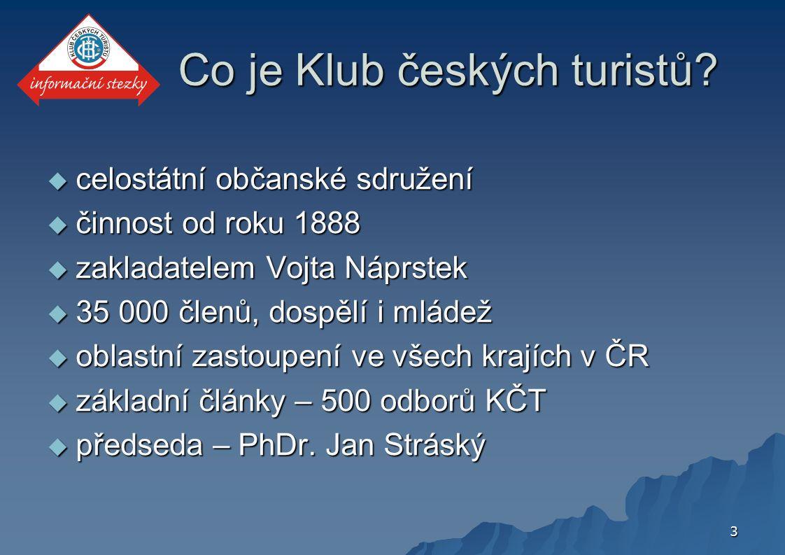 3 Co je Klub českých turistů?  celostátní občanské sdružení  činnost od roku 1888  zakladatelem Vojta Náprstek  35 000 členů, dospělí i mládež  o