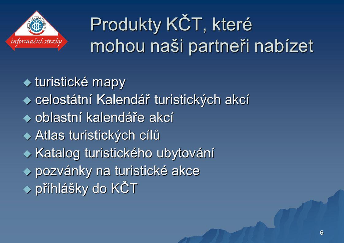 6 Produkty KČT, které mohou naši partneři nabízet  turistické mapy  celostátní Kalendář turistických akcí  oblastní kalendáře akcí  Atlas turistických cílů  Katalog turistického ubytování  pozvánky na turistické akce  přihlášky do KČT
