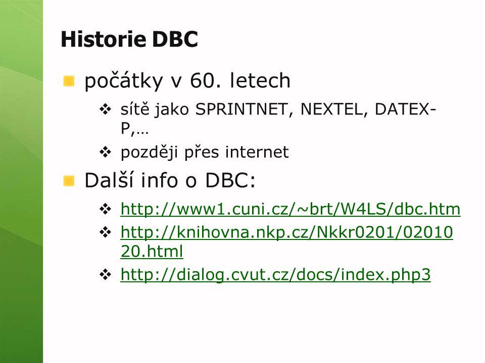 Historie DBC počátky v 60. letech  sítě jako SPRINTNET, NEXTEL, DATEX- P,…  později přes internet Další info o DBC:  http://www1.cuni.cz/~brt/W4LS/