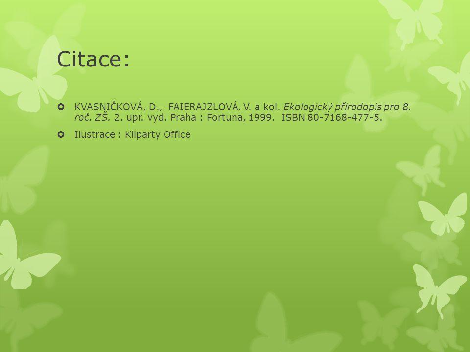 Citace:  KVASNIČKOVÁ, D., FAIERAJZLOVÁ, V. a kol. Ekologický přírodopis pro 8. roč. ZŠ. 2. upr. vyd. Praha : Fortuna, 1999. ISBN 80-7168-477-5.  Ilu