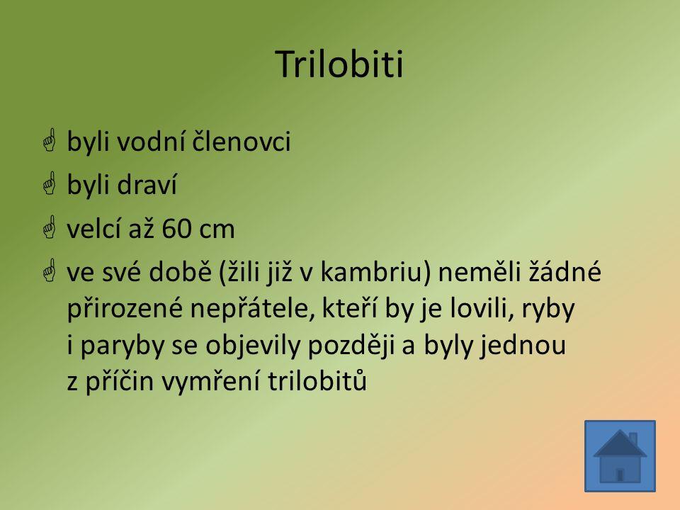 Trilobiti  byli vodní členovci  byli draví  velcí až 60 cm  ve své době (žili již v kambriu) neměli žádné přirozené nepřátele, kteří by je lovili, ryby i paryby se objevily později a byly jednou z příčin vymření trilobitů