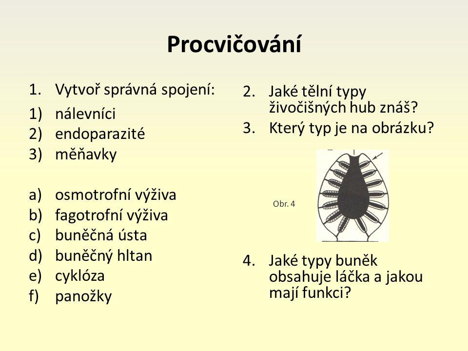 Procvičování 1.Vytvoř správná spojení: 1)nálevníci 2)endoparazité 3)měňavky a)osmotrofní výživa b)fagotrofní výživa c)buněčná ústa d)buněčný hltan e)cyklóza f)panožky 2.Jaké tělní typy živočišných hub znáš.