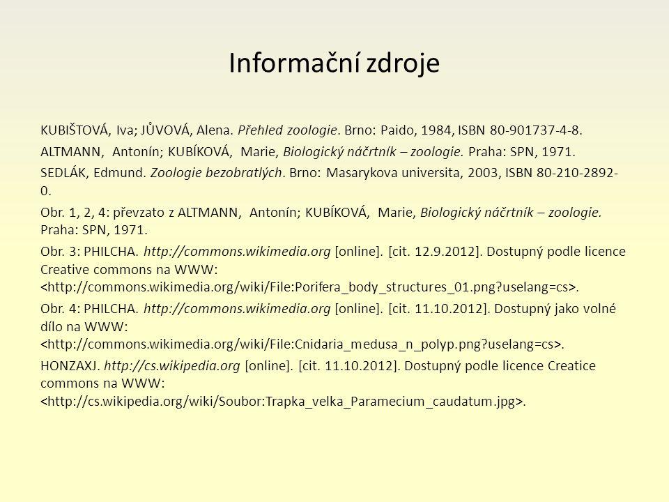 Informační zdroje KUBIŠTOVÁ, Iva; JŮVOVÁ, Alena. Přehled zoologie.