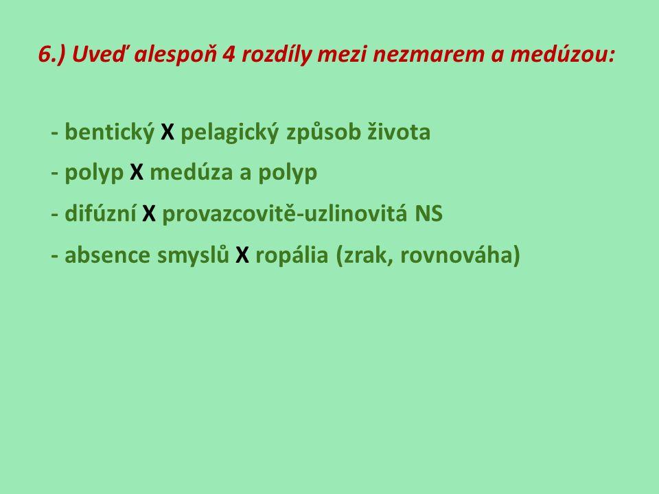 6.) Uveď alespoň 4 rozdíly mezi nezmarem a medúzou: - bentický X pelagický způsob života - polyp X medúza a polyp - difúzní X provazcovitě-uzlinovitá NS - absence smyslů X ropália (zrak, rovnováha)